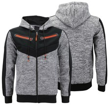 Men's Fleece Zipper Moto Quilt Zip Up Hoodie Drawstring Sweater Jacket Slim Fit