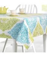 Fabric Outdoor Tablecloth Zipper Umbrella Hole Roma 70 Rd Blue Green Pri... - $34.64