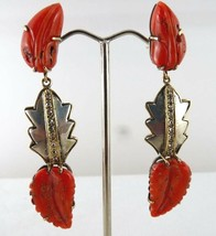 NATURAL CORAL CARVED 19.50 CARATS LEAVES DIAMOND 925 SILVER 18K GOLD EAR... - $648.85