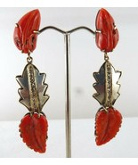 NATURAL CORAL CARVED 19.50 CARATS LEAVES DIAMOND 925 SILVER 18K GOLD EAR... - £520.97 GBP