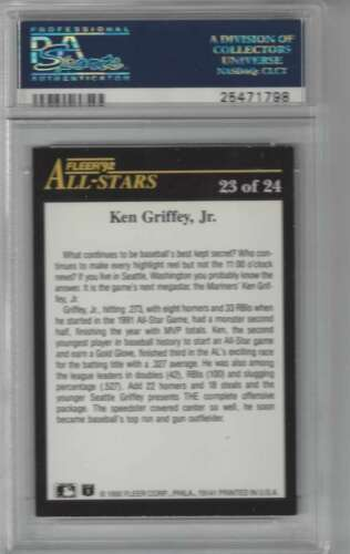 1992 Fleer All Stars #23 Ken Griffey Jr. PSA 8 NM-MT Mariners image 2