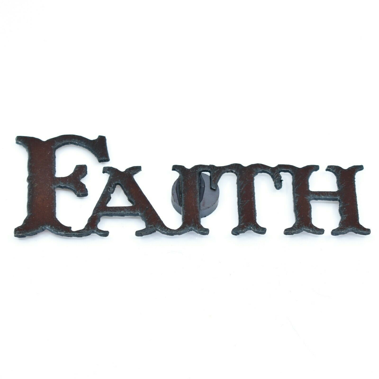 """Country Western Rusted Patina Iron Metal Cutout """"FAITH"""" Magnet"""