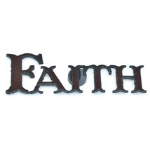 """Country Western Rusted Patina Iron Metal Cutout """"FAITH"""" Magnet image 1"""