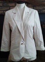 Sag Harbor Women's Cream Blazer Jacket Size 14 Long Sleeve Business Casual - $16.49