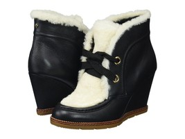 Kate Spade Ny Sandy Black Leather Shearling Ankle Boots Black Wedges Sz 7 *New* - $219.99
