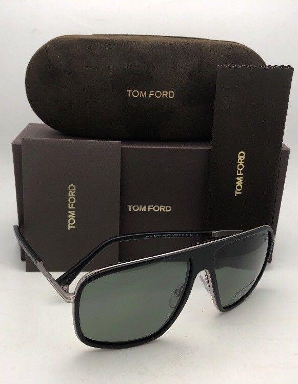 c627bef4b996 Polarized TOM FORD Sunglasses QUENTIN TF 463 02R 60-13 Black Frames Green  Lenses