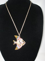 NEW Betsey Johnson Rhinestone Angel fish Pendant on Lo... - $24.50