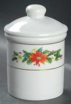 Poinsettia & Holly with Gold Trim Sugar Bowl Candy Jar with Lid RNF26 - $19.79