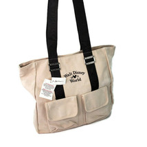 Walt Disney World Park 1971 Tote Bag Tan Ivory Canvas New with Tags - $11.39