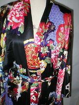NWT New Designer Natori Wrap Robe Womens S Silky Satin Flowers Blue Red White image 5