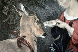"""26"""" Antique Hand Colored Engraving The Pets Lucas Alfred Girl Feeding Baby Deer image 4"""