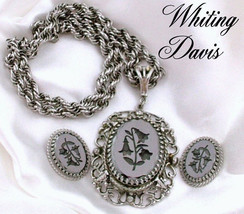 Whiting & Davis Pendant Necklace & Earrings Intaglio Hematite Lily of th... - $54.95