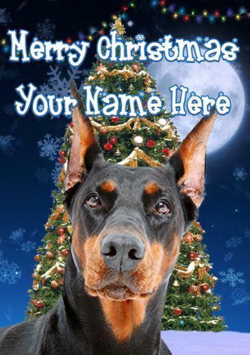Doberman Dog Personalised Greeting Card Xmas codeTM187