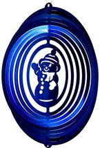 12 in stainless steel blue Snowman USA 3D hanging yard wind spinner, spinners - $32.00