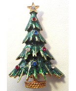 Vintage signed EISENBERG ICE Green Enamel & Rhinestone CHRISTMAS Tree BR... - $24.95