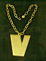 Trifari Crown Mark V Necklace Initial Victory Big Bold Vintage Choker - $24.26