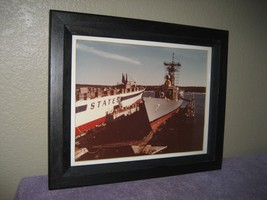 Vintage US Ships Dry Docked Picture Print Black Wood Frame with Covered ... - $17.77