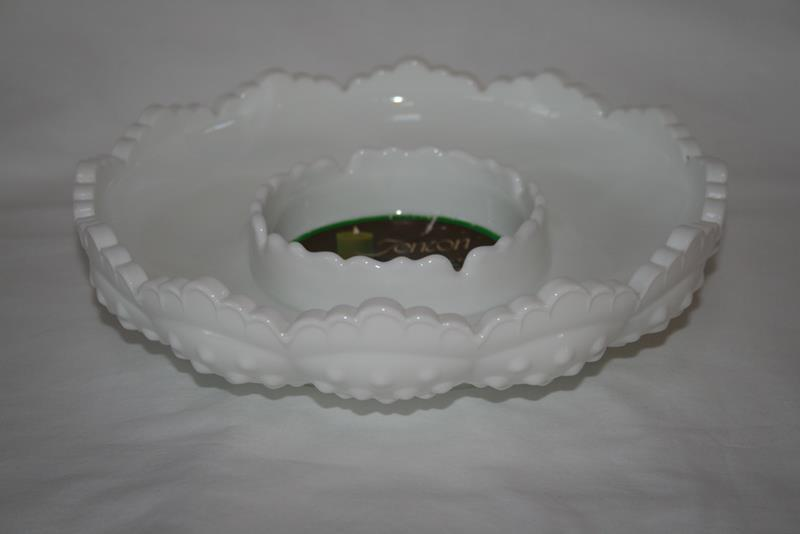 Fenton Hobnail Milk Glass AshTray, Candle Bowl or Chip & Dip with Tag  #1974 image 6
