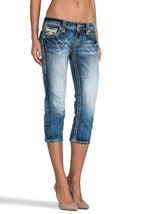 NEW ROCK REVIVAL WOMENS PREMIUM CAPRI JEANS ANGIE P17 SKINNY ACID DENIM WASH