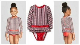 Cat & Jack Red/White/Blue Striped Long Sleeve Snap One Piece Swimsuit 18M - $12.73