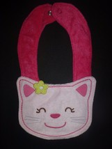 NEW Carter's Pink Kitty Cat Baby Girl Terry Cloth Teething Drool Bib - $3.95