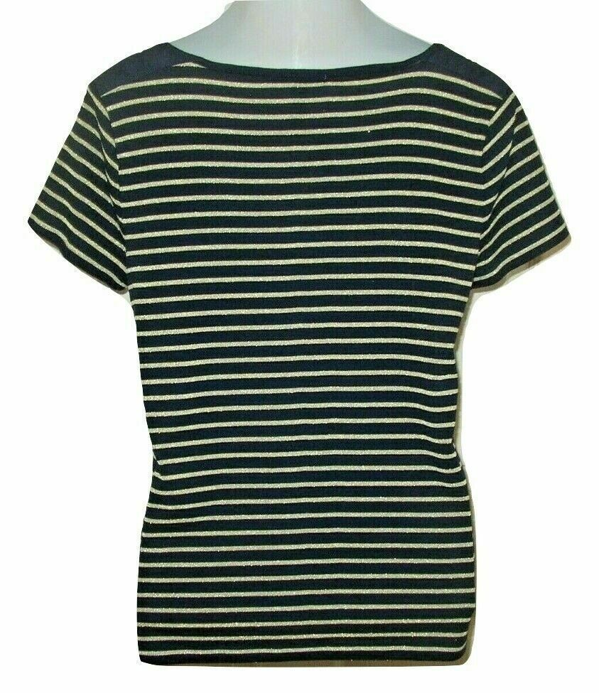 Ralph Lauren XL Womens Shirt Knit Navy Gold Stripe NWOT