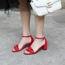 Shoes Summer Women Sandals Party Suede Heel Wedding High Ruffles FEDONAS Woman nEzfx1Pn