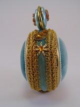 1950s Sewing Pin Cushion ornate aqua velvet free standing ROUND image 3