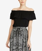 LAUREN RALPH LAUREN Black 100% Cotton Ruffled Pom Pom Off Shoulder Top N... - $21.12