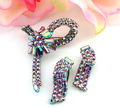 Vintage Floral Bow Brooch & Earrings All Aurora Borealis Rhinestone Set - $34.95
