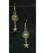 Dangly Metal Star Sun Spacer Rockabilly Gothabilly Earrings made with Ni... - $5.40