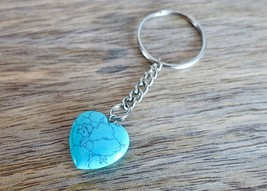 Blue Turquoise Heart Stone Keychain Natural Gemstone Point Meditation Re... - $12.14