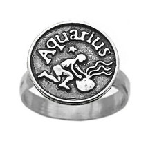 Zodiac Aquarius Water Bearer jewelry Genuine Real Sterling Silver 925 ring - $33.81