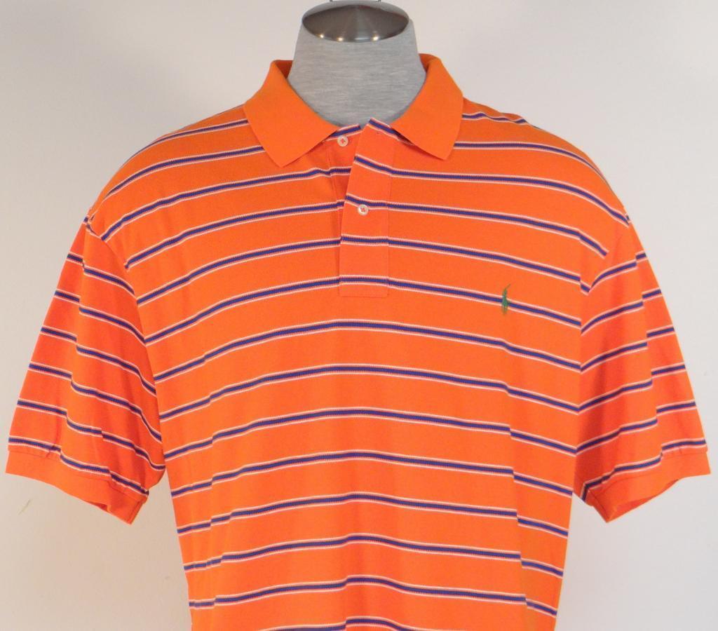Ralph lauren orange blue stripe short sleeve polo shirt for Orange polo shirt mens
