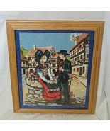 Cross Stitch Swiss Couple Wall Hanging Framed Switzerland Chalet 24 x 19... - $54.44