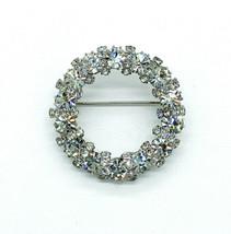 Vintage Mid Century Diamond Paste Rhinestone Silver Circle Wreath Pin Br... - $41.39