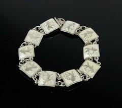Vintage .925 Sterling Silver Signed SIAM Hindu Goddess Tennis Bracelet 1... - $24.67