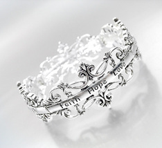 INSPIRATIONAL Silver Filigree Links FAITH HOPE LOVE Stretch Bracelet - $16.99