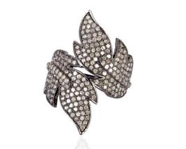 Designer Vintage Repro. 1.44Ctw Rose Cut Diamond Silver Ring - $327.41