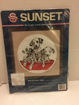 Dalmation Trio  Cute Puppies No Count Cross Stitch Sunset Kit  # 13924 NIP - $9.49