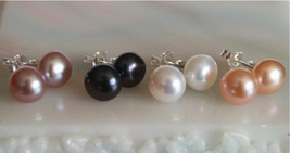 Genuine Freshwater Pearl Sterling Silver Stud Earrings 7.5-8mm.........Black, Wh - $14.99