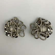 Jewels by Julio Clip On Earrings Vintage Designer Signed Chunky Cluster ... - $19.75