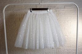 Women Girl Sparkle Tulle Skirt Mini Tulle Skirt A-line Red White Pink Gray image 9