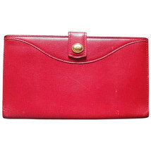 Vintage Christian Dior red genuine leather wallet with gold tone CD charm. - $118.00