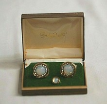 Sarah Coventry Faux Opal Cufflinks & Tie Tack Vintage Men's Costume Jewelry Box - $29.69