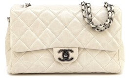 CHANEL Bag Messenger Ecru Glazed Leather ELASTIC FLAP Ruthenium 2015 15 - $2,722.50