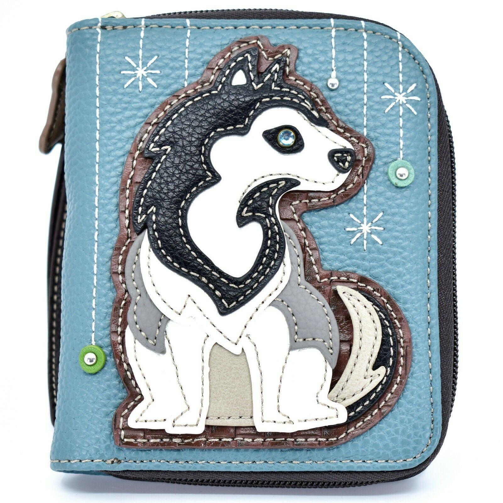 Chala Handbags Faux Leather Whimsical Siberian Husky Zip Around Wristlet Wallet