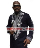 Odeneho Wear Men's Black Polished Cotton Top/ Embroidery. African Clothing  - $83.16+