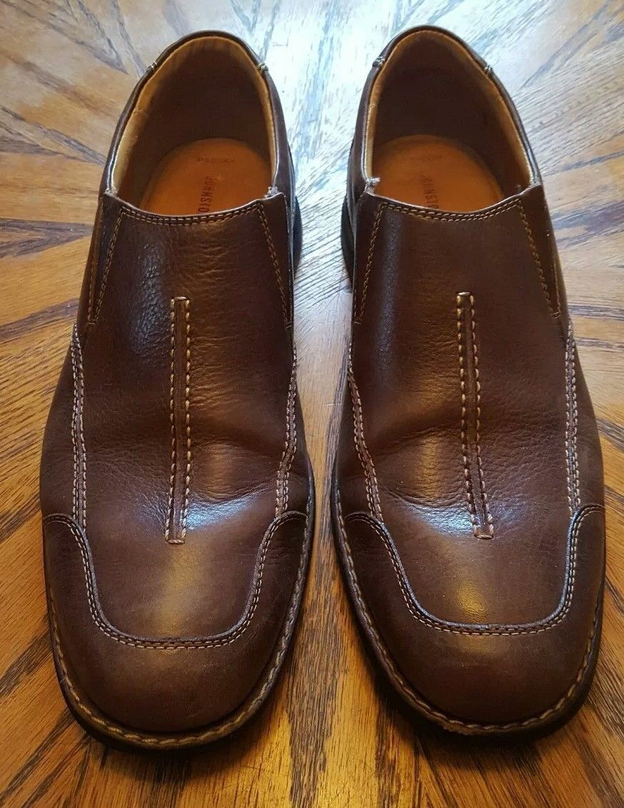 Men's Johnston Murphy Slip Casual Loafers Pebbled Sheepskin Brown Leather 12