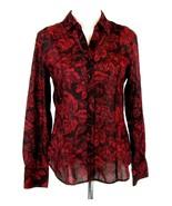 COLDWATER CREEK Size M 10 12 No Iron Light Cotton Floral Blouse - $19.99